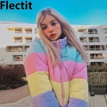 Flectit Lazy Pastel Puffer Jacket With Hood Warm Padded Coat Women Winter Rainbo