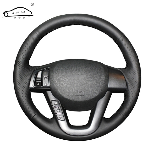 الجلود الاصطناعية عجلة توجيه سيارة جديلة لكيا K5 2011 2012 2013 كيا أوبتيما/مخصص غطاء التوجيه