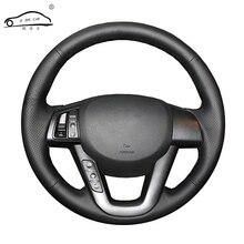 Suni deri araba direksiyon örgü Kia K5 2011 2012 2013 Kia Optima/Custom made direksiyon kapağı