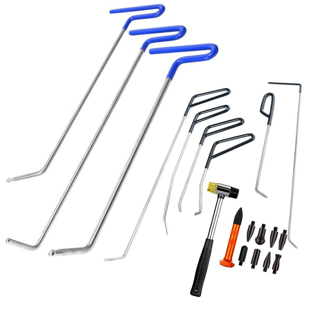 Furuix Tools Paintless Dent Repair Spring Steel Rods Body Dent Removal Hail Set Repair Hammer with 8 pcs Tap Down