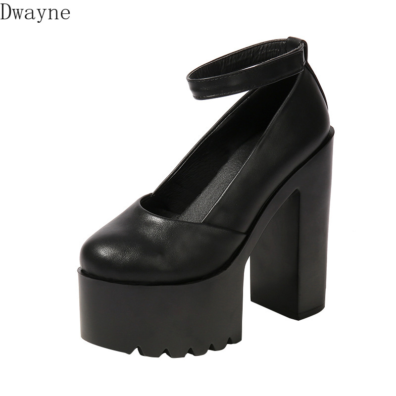 Женские туфли на толстом каблуке 14 см, черные или белые туфли на очень высоком каблуке с открытым носком, для ночного клуба, подиума, новинка ...