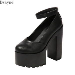 2019 new thick with 14 cm platform high heels black white super high-heeled shallow mouth nightclub catwalk women's single shoes