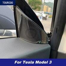 Für Tesla Modell 3 2017 2021 Front Dreieck EIN Säule Lautsprecher Abdeckung Trim Auto Styling Geändert Garnieren Zubehör