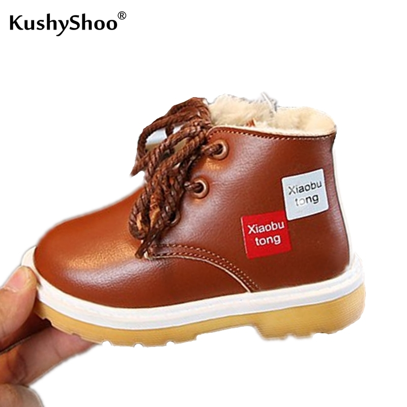 KushyShoo Children Martin Boots Snow Boots Boys Snow Boots Warm Winter Boots For Girls Rome Boots Kids Shoes Motorcycle Boots