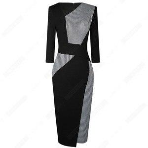 Image 4 - Vintage Women Patchwork Asymmetrical Collar Elegant Casual Work Office Sheath Slim Dress EB517