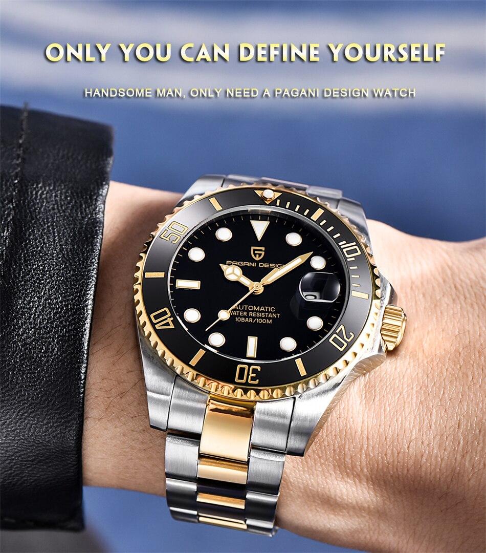 relógios automáticos de luxo dos homens aço