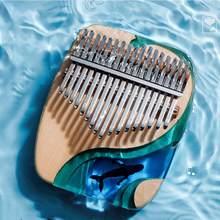 Kalimba 17 chave polegar piano sólido faia resina epóxi portátil kalimba mbira sanza com afinação martelo teclado instrumento musical