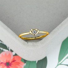цена на Classic Female White Round Crystal Ring Minimalist Gold Thin Wedding Rings For Women Cute Bridal Love Heart Engagement Ring