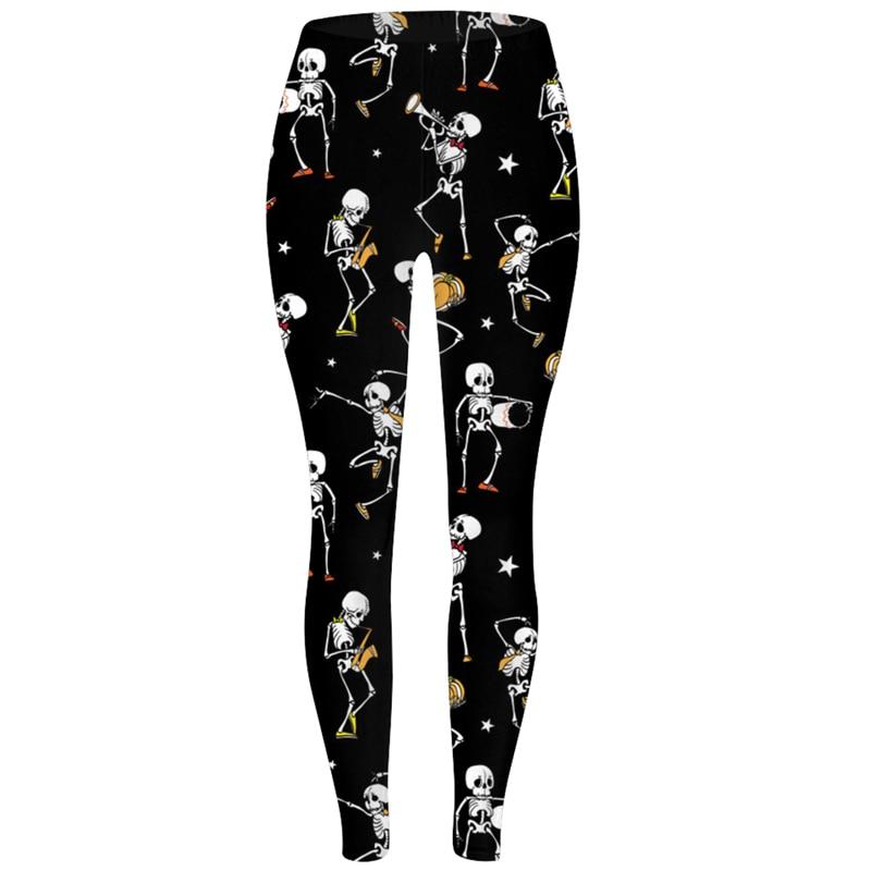 FroMoaSa Women Leggings Slim High Waist Elasticity Leggings Halloween Day SEXY New Women's Legging Ghost Skull Pumpkin Palm Pant