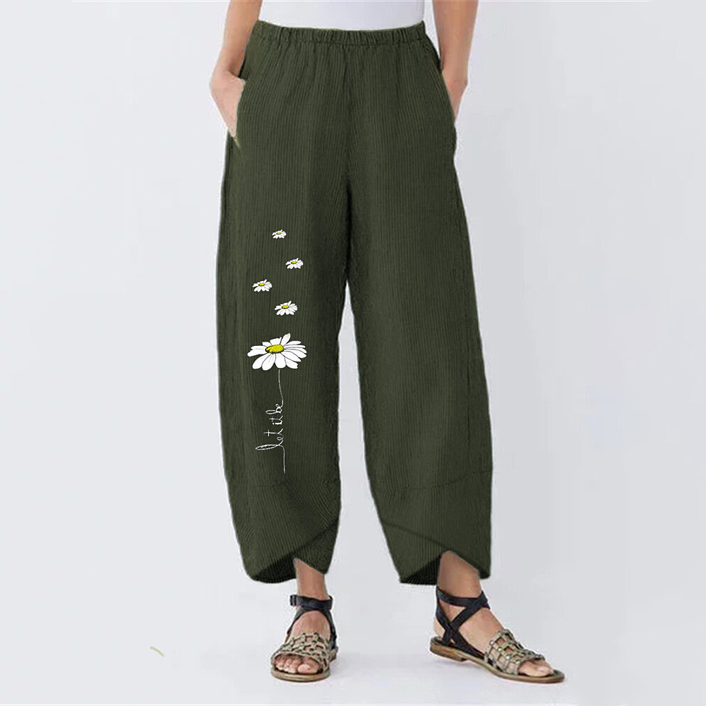 Adisputent 2020 Pants Women Irregular Hem Flowers Printed Long Trousers Plus Size Female Streetwear Stripe Pockets Pantalones