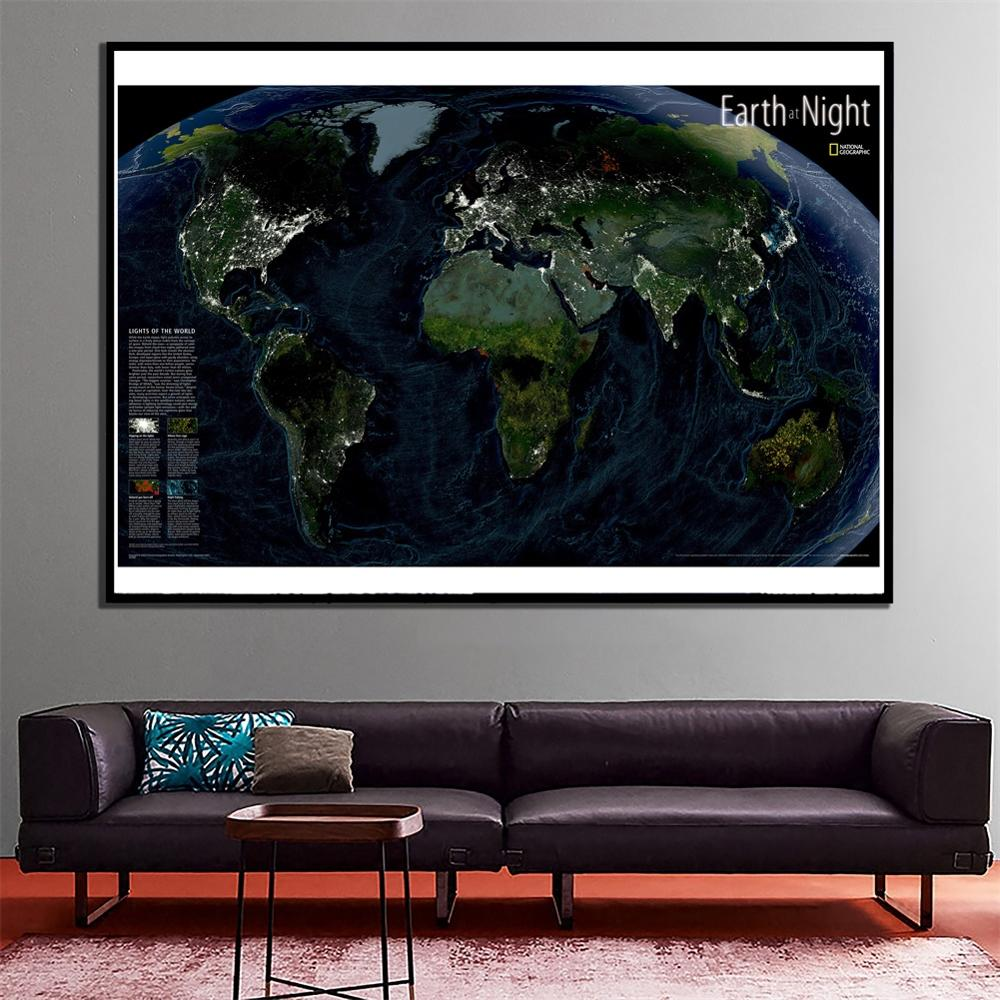 2x3ft Fine Canvas Spray Painting Home Wall Decor Map The Earth At Night For Living Room Wall Decaration