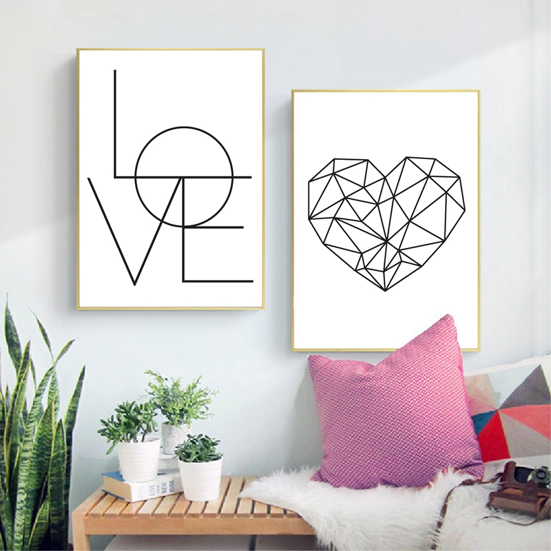 Black white love prints living room decor