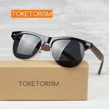 Toketorism Retro Half frame Polarized Natural Wood Sunglasses uv400 wooden glasses driving men women 3051