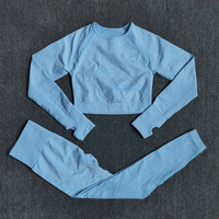 ShirtsPantsBlue - Women Seamless Yoga Set Fitness Sports Suits