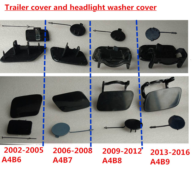 Car Front Bumper Trailer Hitch Plug Towing Hook Cap  And Headlight Washer Cover For AUDI A4 B6 B7 B8 B9 Without Paint