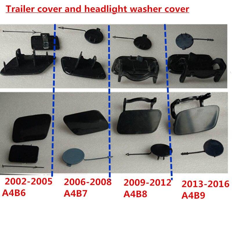 Przedni zderzak samochodowy hak przyczepy wtyczka hak holowniczy Cap i do mycia reflektorów klosz do audi A4 B6 B7 B8 B9 bez farby