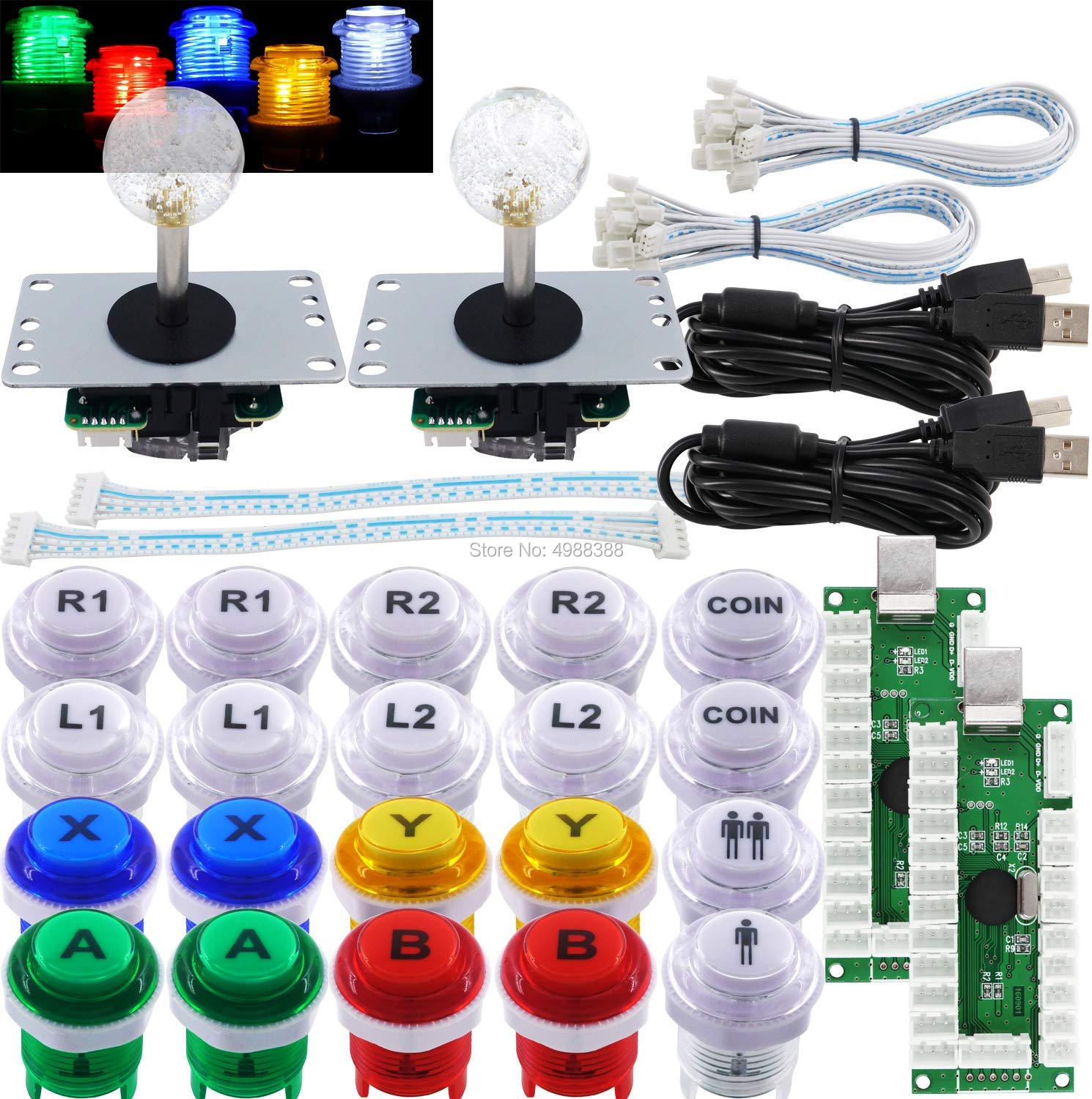 Arcade Joystick 2 Player DIY Kit LED Buttons Microswitch 8 Way Joystick USB Encoder Cable For PC MAME Raspberry Pi