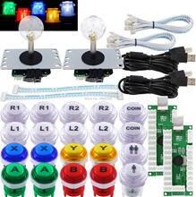 ארקייד ג ויסטיק pc 2 נגן DIY ערכת LED כפתורים Microswitch 8 דרך ג ויסטיק USB מקודד כבל עבור מחשב MAME פטל pi