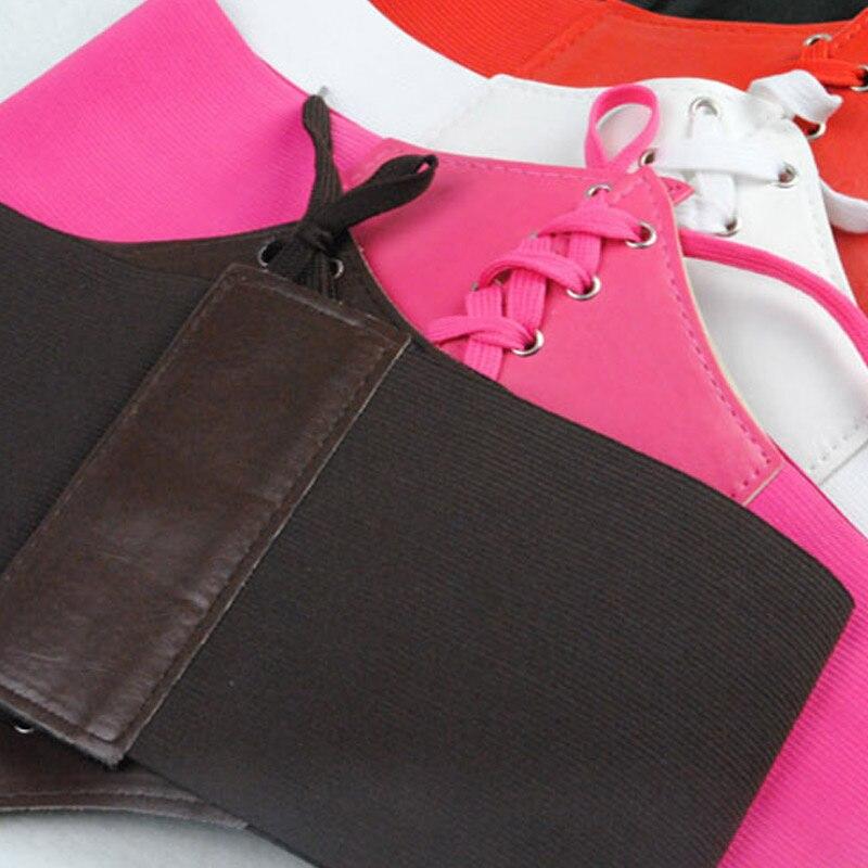 Newly Women Corset Wide PU Leather Slimming Body Belt Elastic High Waist Shaping Girdle Bands Belts FIF66