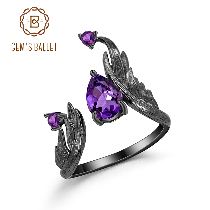 GEM'S BALLET 1.43Ct Natural Amethyst Gemstone Rings 925 Sterling Silver Handmade Adjustable Angel's Wing Ring For Women Bijoux
