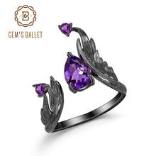 GEM'S BALLET 1.43Ct Natural Amethyst Gemstone Rings 925 Sterling Silver Handmade Adjustable Angel's Wing Ring for Women Bijoux