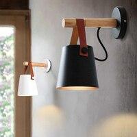 Lâmpadas de parede led luz de parede lâmpadas de parede de madeira estilo nórdico moderno cama cabeceira luz e27 85 265 v branco & preto abajur decoração de casa Luminárias de parede     -