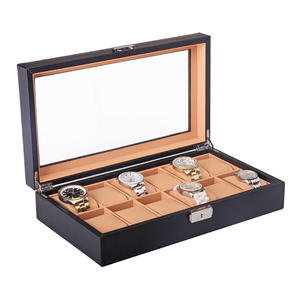Case Watch-Winder Locked Storage-Organizer Display-Box Jewelry Grid Black Fashion Luxury
