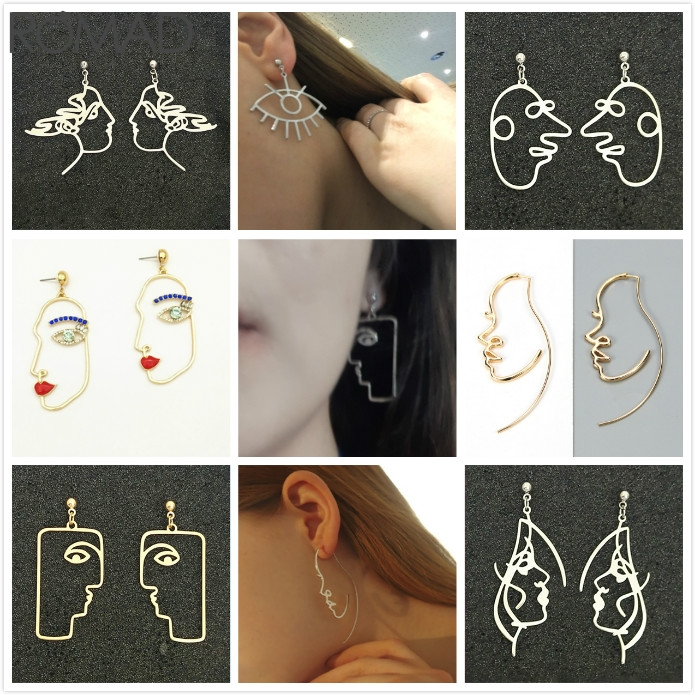 ROMAD Metal Abstract Face Earrings Gold Human Smiley For Women Simple Hollow Half Eye Earring Girl aretes R5