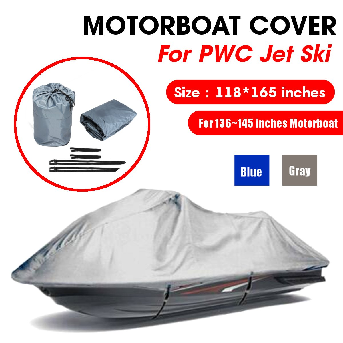 4.2x3m 210D Oxford Cloth Engine Protector Waterproof Trailerable Boat Cover Jet Ski Outboard Motor Hood Cover