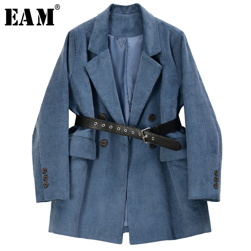 [EAM]  Women Blue Corduroy Split Joint Big Size Blazer New Lapel Long Sleeve Loose Fit  Jacket Fashion Spring Autumn 2020 1R721