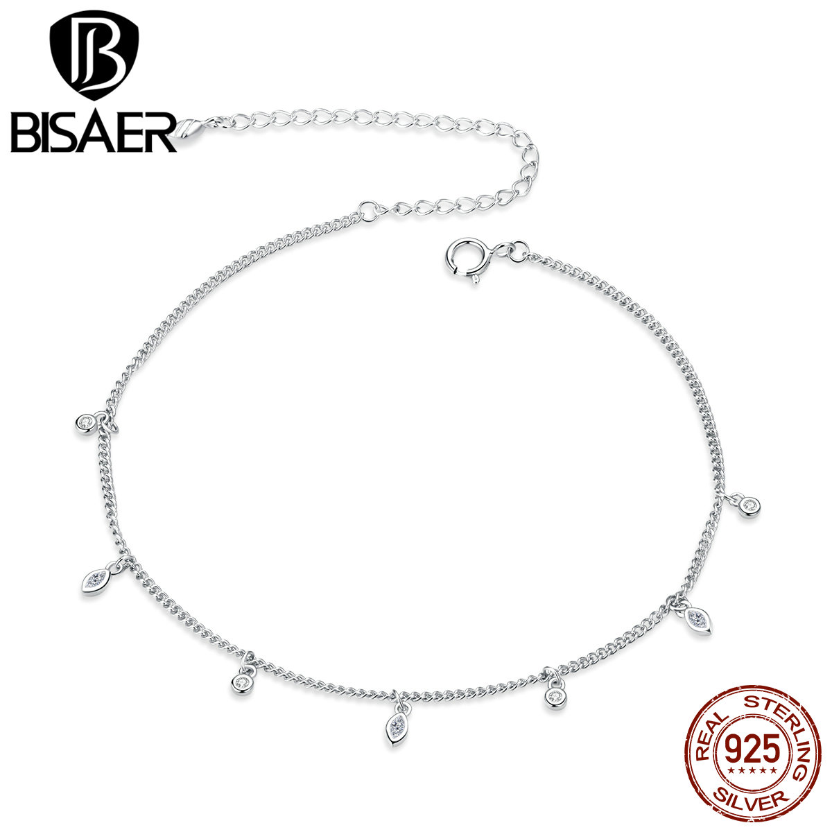 BISAER Anklets 925 Sterling Silver Simple Tassel Sparkling Zircon Chain Anklets For Women Feet Leg Chain Link Fine Jewelry