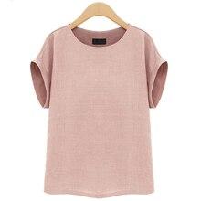 2019 Europe Summer Women Linen Blouse Shirt Short Sleeve Blo