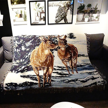 Manta de tiro americano Vintage multifunción ciervos de Navidad sofá cubre Cobertor de polvo aire acondicionado mantas para la cama