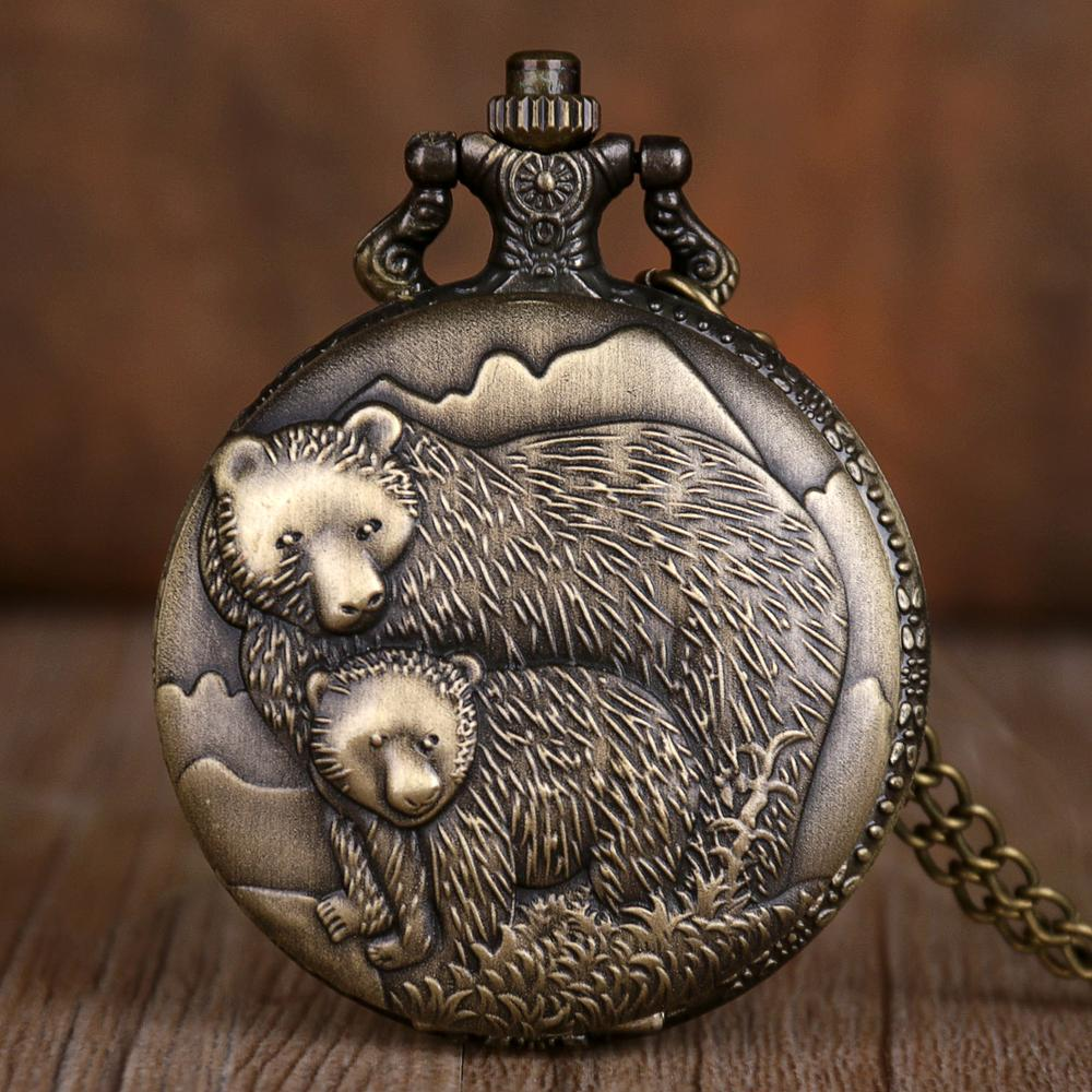 Vintage Warm Lovely Double Bear Quartz Pocket Watches With Fob Chain Retro Pocket Watches Pendant Mens Gift CF1057