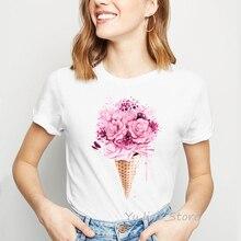 Pink flowers ice cream print t-shirt women tshirt top harajuku kawaii clothes 90s tumblr t shirt shirts casual white basic