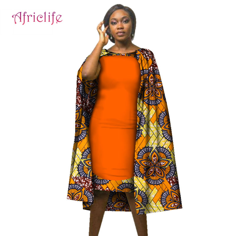 Women African Clothes Elegant Dresses Africa Wax Print Bazin Riche Sleeveless Knee-length Party Dress With Cloak Shawl WY2114