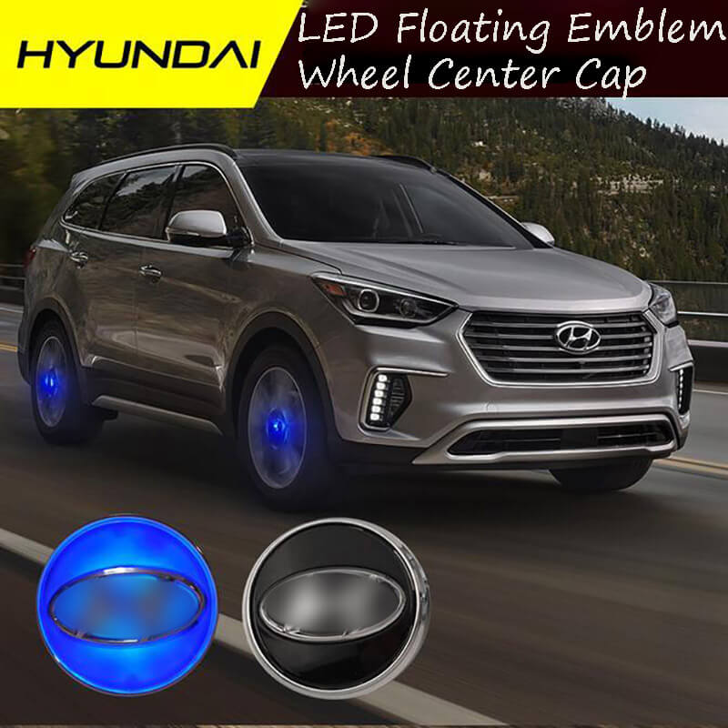 59MM Magnetic Suspension LED Floating <font><b>Wheel</b></font> <font><b>Center</b></font> Cap <font><b>Cover</b></font> Blue Light <font><b>Car</b></font> Emblem for IX25 IX35 SONATA ACCENT TUCSON - ECUTOOL image