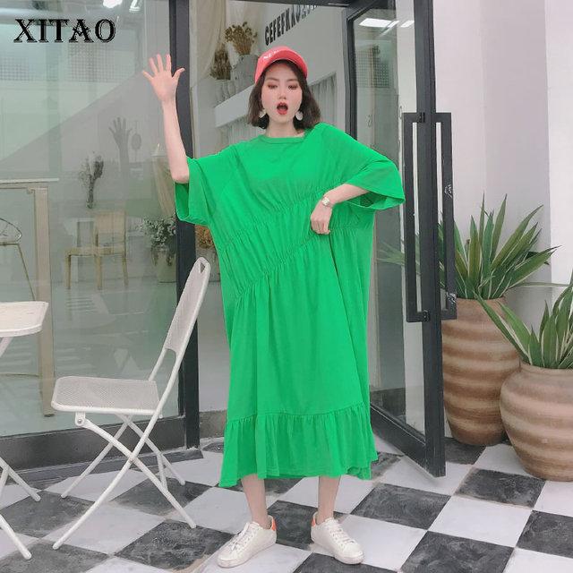XITAO Pleated Plus Size Dress Fashion Pullover Goddess Fan 2020 Summer Goddess Fan Minority Casual Style Loose Dress GCC3517 1