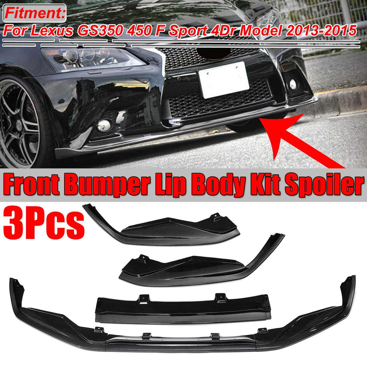 <font><b>GS350</b></font> 450 Carbon Fiber Look Car Front Bumper Lip Splitter Spoiler Diffuser For <font><b>Lexus</b></font> <font><b>GS350</b></font> 450 F Sport 4Dr Model 2013 <font><b>2014</b></font> 2015 image