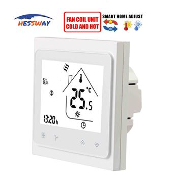 24V/95~240V cooling heating digital lcd thermostat regulator temperature for 3 speed fan coil units цена 2017
