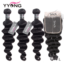 Yyong 5X5 3/4 Loose Deep Wave Bundles With Closure 2020 New Peruvian 4x4 Closure With Bundles Remy Human Hair With Lace Closure