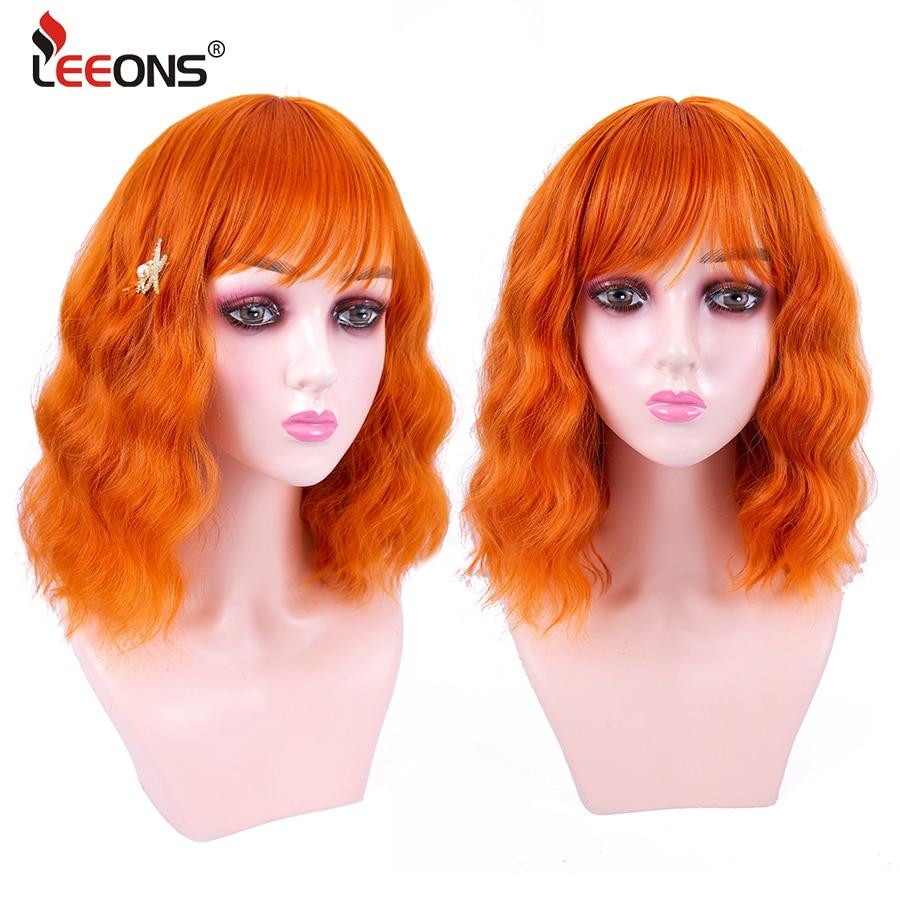 Parrucca Bob ondulata corta Leeons con frangia corta viola verde rosa arancione marrone parrucca Cosplay lunghezza spalla parrucca sintetica onda d'acqua
