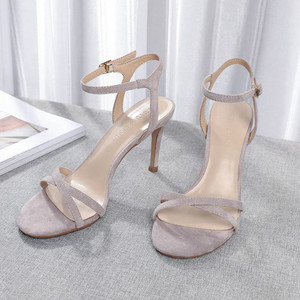Image 5 - Women High Heels Sandals Shoes Woman 8.5cm Thin Heels Pumps Sandals Ladies Flock Solid Ankle Straps Casual Sexy Wedding Shoes