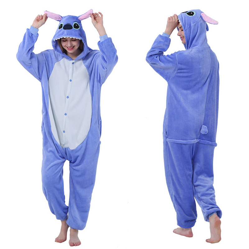 Christmas Pajamas For Women Warm Thicken Winter Pijamas Kigurumi Unicorn Sleepwear Blue Stitch Animal Cute Hooded Home Clothes