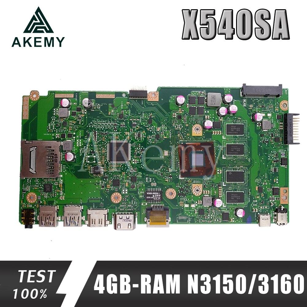 NEW X540SA Laptop Mainboard 4GB-RAM N3150/3160 CPU REV 2.0 For ASUS X540 X540S X540SA X540SAA Laptop Motherboard Test Ok