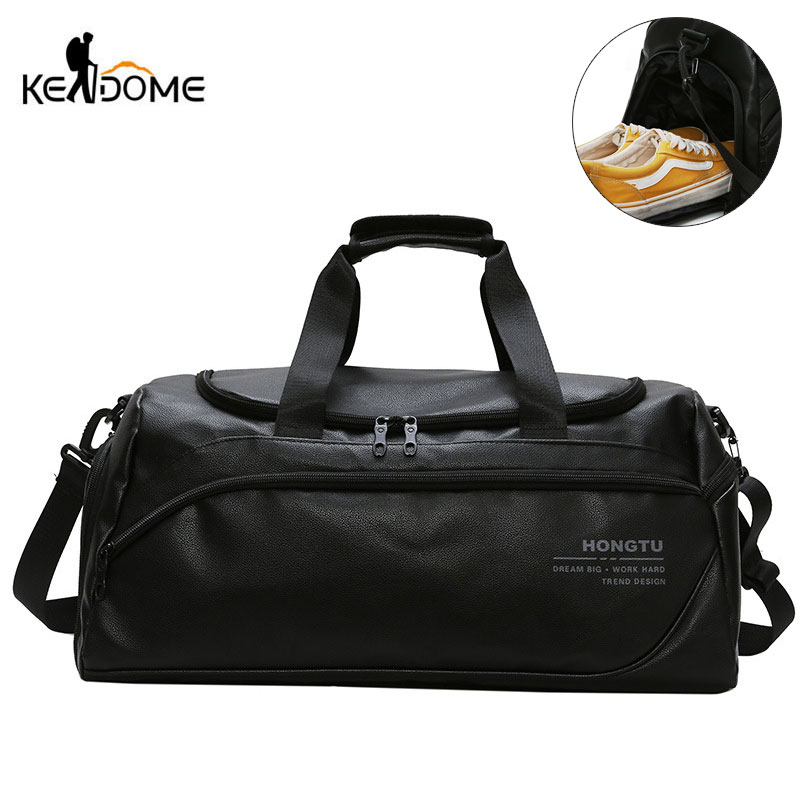 Shoulder Soft Leather Gym Bags Travel Bag for Men Men Sports Fitness Gymtas Duffel Training Luggage