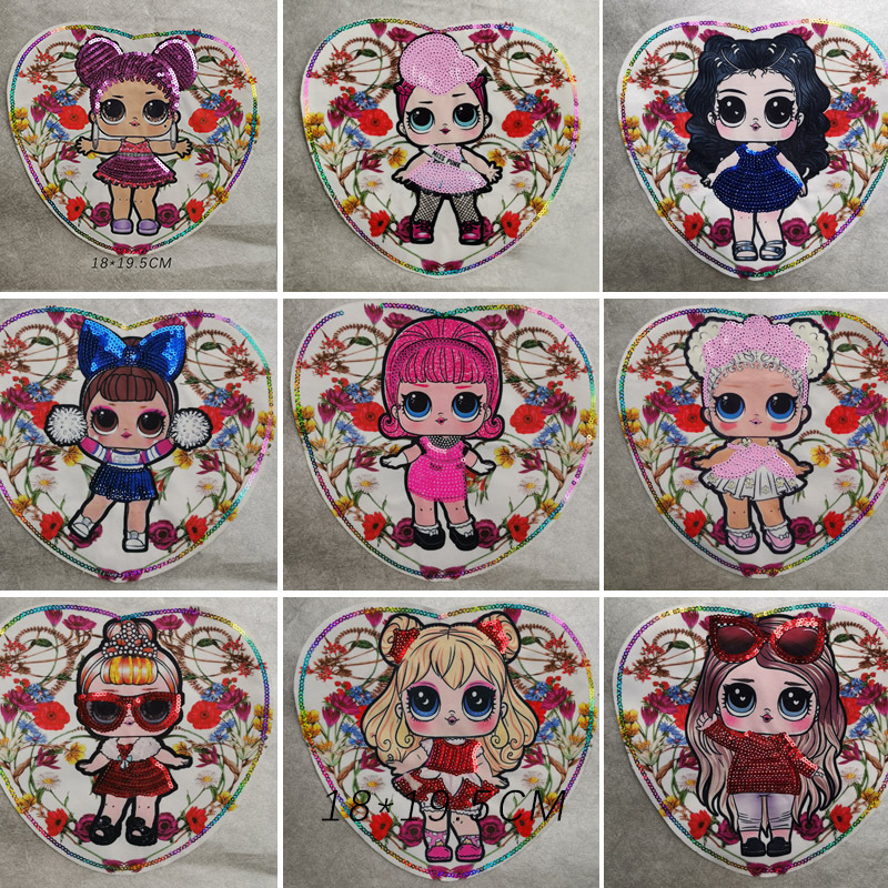 LoL Surprise Doll Girl Sequins Patch DIY Embroidery Patches For Clothing Printing Cloth Stickers Sew On Stickers For Clothes Toy