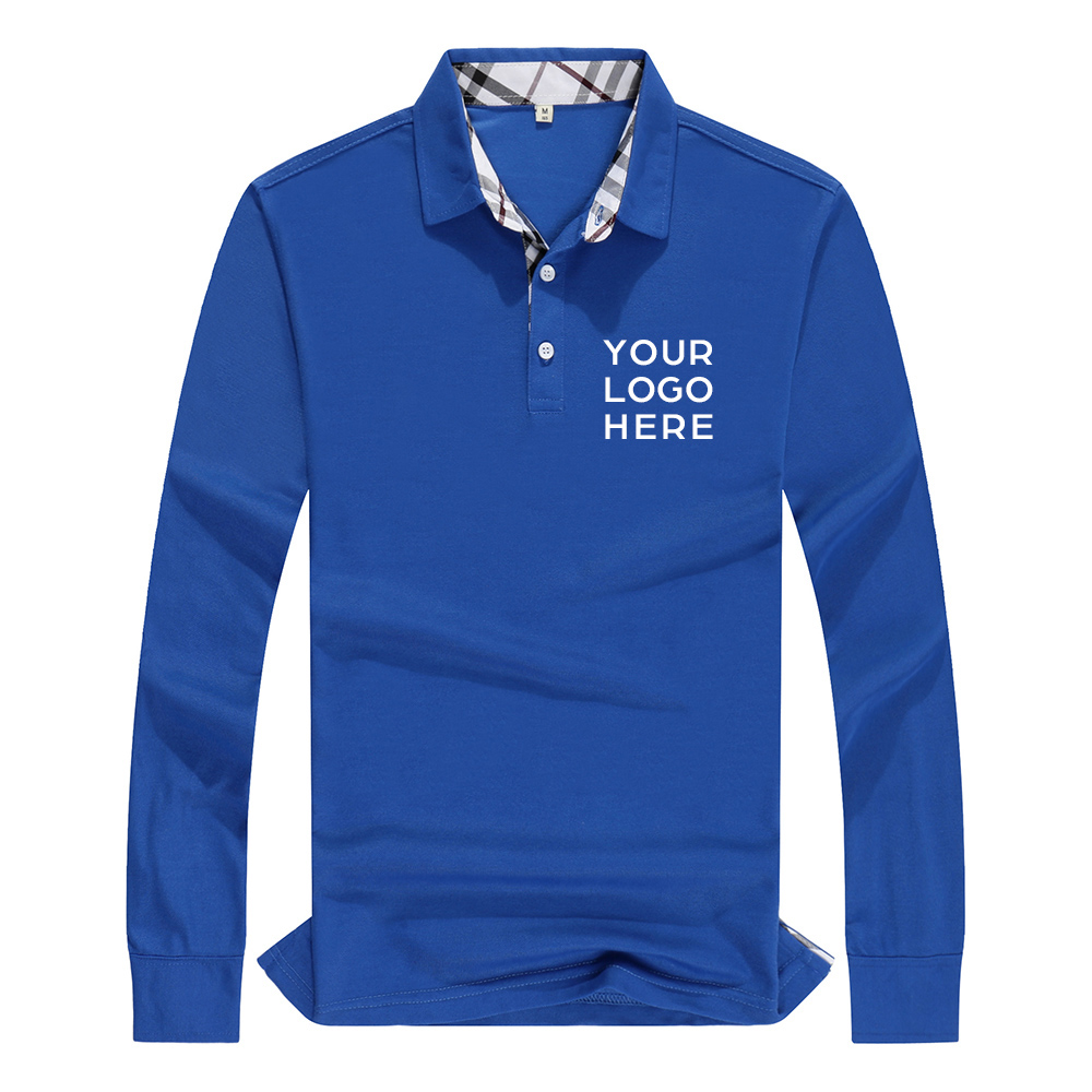 Polo   Shirt Long Sleeve Men Casual Tops Jersey High Quality Cotton Unisex Couples Women Shirts Printed Company Logo Plus Size 4XL