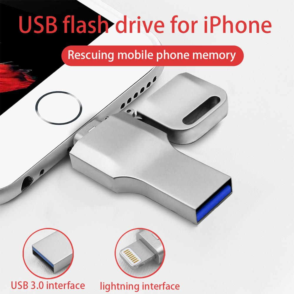 USB 3 0 Flash Drive 64GB Lightning Metal Pen Drive U Disk For iPhone 11 x 8 7 7Plus 6 6s 5 se iPad iPod PenDrive Memory Stick