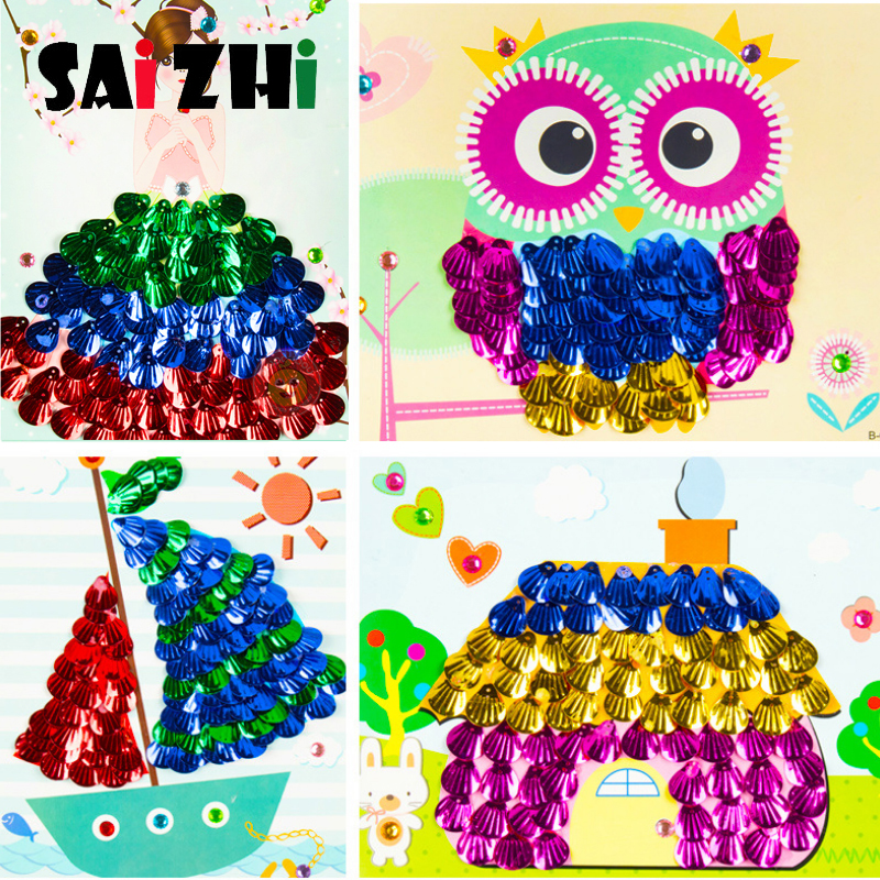 DIY Shell Painting Kindergarten Handmade Material Bag Child Sequin Stickers Toy For Children Toys  Crafts Puzzle Toys SZ3628